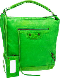 Balenciaga Apple Green Antiqued Leather Classic Day Motorcycle Bag