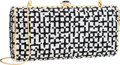 Luxury Accessories:Bags, Judith Leiber Full Bead Black & Silver Crystal MinaudiereEvening Bag. ...