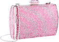 "Luxury Accessories:Bags, Judith Leiber Full Bead Pink Crystal Minaudiere Evening Bag .Very Good to Excellent Condition. 4"" Width x 3"" Heightx..."