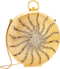 Luxury Accessories:Bags, Judith Leiber Gold Metal Circular Sun Minaudiere Evening Bag withCrystal Accents. ...
