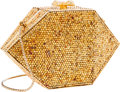 Luxury Accessories:Bags, Judith Leiber Full Bead Gold Crystal Hexagon Minaudiere Evening Bagwith Pink Cabochon Clasp. ...