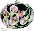 Luxury Accessories:Bags, Judith Leiber Full Bead Floral Black Oval Minaudiere Evening Bag ....
