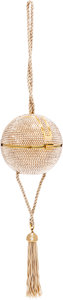 Luxury Accessories:Bags, Judith Leiber Full Bead Gold Crystal Sphere Minaudiere Evening Bagwith Tassel . ...