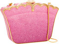 Luxury Accessories:Bags, Judith Leiber Full Bead Pink Rectangular Crystal Minaudiere EveningBag. ...
