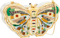 Judith Leiber Full Bead Blue, Green & Yellow Crystal Butterfly Minaudiere Evening Bag
