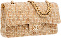 Luxury Accessories:Bags, Chanel Beige & Gold Brocade Medium Double Flap Bag with GoldHardware. ...