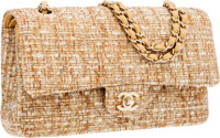 Chanel Beige & Gold Brocade Medium Double Flap Bag with Gold Hardware