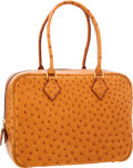 Luxury Accessories:Bags, Hermes 28cm Cognac Ostrich Plume Bag with Gold Hardware. ...