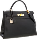 Luxury Accessories:Bags, Hermes 32cm Black Calf Box Leather Retourne Kelly Bag with GoldHardware . ...