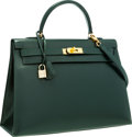 Luxury Accessories:Bags, Hermes 35cm Vert Fonce Calf Box Leather Sellier Kelly Bag with Gold Hardware. ...