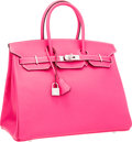 Luxury Accessories:Bags, Hermes 35cm Rose Tyrien Epsom Leather Birkin Bag with Palladium Hardware. ...