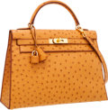 Luxury Accessories:Bags, Hermes 32cm Saffron Ostrich Sellier Kelly Bag with Gold Hardware. ...