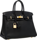 Luxury Accessories:Bags, Hermes 25cm Black Swift Leather Birkin Bag with Gold Hardware. ...