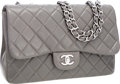 Luxury Accessories:Bags, Chanel Gray Quilted Caviar Leather Jumbo Single Flap Bag withSilver Hardware. ...