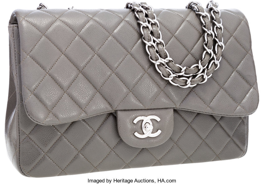 ... Luxury Accessories Bags, Chanel Gray Quilted Caviar Leather Jumbo  Single Flap Bag withSilver Hardware ... 01b3ec1cacf
