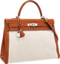 Luxury Accessories:Bags, Hermes 35cm Natural Barenia Leather & Toile Retourne Kelly Bag with Palladium Hardware. ...