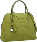 Luxury Accessories:Bags, Hermes 31cm Vert Chartreuse Clemence Leather Mou Bolide Bag withPalladium Hardware . ...