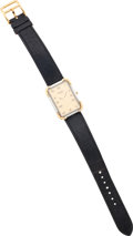 Luxury Accessories:Accessories, Hermes Stainless Steel & Gold Crosiere Watch with Black BuffaloLeather Strap. ...