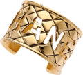 Luxury Accessories:Accessories, Chanel Gold Quilted Cuff Bracelet. ...