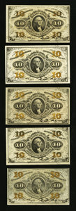 Fractional Currency:Third Issue, Fr. 1255 10¢ Third Issue Five Examples.. ... (Total: 5 notes)