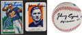 Autographs:Baseballs, Johnny Lujack Single Signed Baseball,1951 Bowman And 1952 WheatiesSigned Cards Lot Of 3....