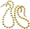 Estate Jewelry:Necklaces, South Sea Cultured Pearl, Diamond, Gold Necklaces. ... (Total: 2Items)