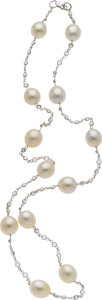 Estate Jewelry:Necklaces, South Sea Cultured Pearl, Sapphire, White Gold Necklace. ...