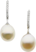 Estate Jewelry:Earrings, Freshwater Cultured Pearl, Diamond, White Gold Earrings. ...