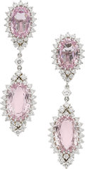 Estate Jewelry:Earrings, Kunzite, Diamond, White Gold Earrings. ...