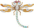 Estate Jewelry:Brooches - Pins, Opal, Ruby, Diamond, Gold Brooch. ...
