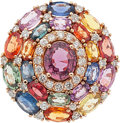 Estate Jewelry:Rings, Garnet, Multi-Color Sapphire, Diamond, Pink Gold Ring . ...