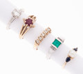 Estate Jewelry:Rings, Multi-Stone, Diamond, Cultured Pearl, Gold Rings. ... (Total: 5Items)
