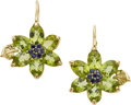 Estate Jewelry:Earrings, Peridot, Sapphire, Gold Earrings, Carol Silvera. ...