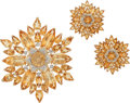 Estate Jewelry:Suites, Citrine, Diamond, Gold Jewelry Suite. ... (Total: 2 Items)