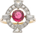 Estate Jewelry:Rings, Edwardian Spinel, Diamond, Platinum-Topped Gold Ring. ...
