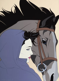 PATRICK NAGEL (American, 1945-1984) Untitled (Woman with Horse), 1983 Acrylic on canvas 30 x 22 i