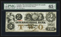 Canadian Currency: , Toronto, CW- The International Bank of Canada $2 Sep. 15, 1858 Ch. # 380-10-08-12. ...