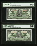 Canadian Currency: , BC-21d $1 1937 Four Consecutive Examples PMG Graded. ... (Total: 4 notes)