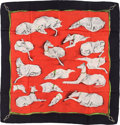 "Luxury Accessories:Accessories, Hermes 90cm Red & Black ""Les Levriers,"" by Xavier de Poret SilkScarf. ..."