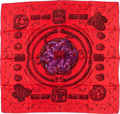 "Luxury Accessories:Accessories, Hermes 90cm Red ""Ors Nomades,"" by Annie Faivre Silk Scarf. ..."