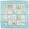 """Luxury Accessories:Accessories, Hermes 90cm Pale Blue & Green """"Imagerie,"""" by Maurice Tranchant Silk Scarf. ..."""