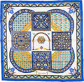 """Luxury Accessories:Accessories, Herms 90cm Blue, White & Yellow """"Ciels Byzantins,"""" by JuliaAbadie Silk Scarf. ..."""