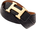 Luxury Accessories:Accessories, Hermes 75cm Black Ostrich & Gold Calf Box Leather H Belt with Gold Hardware. ...