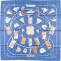 "Luxury Accessories:Accessories, Hermes 90cm Blue & Beige ""Carnets de Bal,"" by Caty Latham SilkScarf. ..."