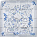"Luxury Accessories:Accessories, Hermes 90cm Light Blue, Dark Blue & Silver ""L'Air Marin,"" byJoachim Metz Silk Scarf. ..."