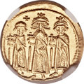 Ancients:Byzantine, Ancients: Heraclius, with Heraclius Constantine and Heraclonas (AD610-641). AV solidus (19mm, 4.45 gm. 6h)....