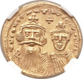 Ancients:Byzantine, Ancients: Constans II, with Constantine IV (AD 641-668). AV solidus(20mm, 4.48 gm, 6h)....