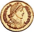 Ancients:Roman Imperial, Ancients: Theodosius I the Great (AD 379-395). AV solidus (21mm, 4.46 gm, 6h)....