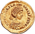 Ancients:Roman Imperial, Ancients: Galla Placidia, wife of Constantius III, mother ofValentinian III (Augusta, AD 421-450). AV solidus (22mm, 4.45 gm,1h)....