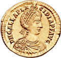 Ancients:Roman Imperial, Ancients: Galla Placidia, wife of Constantius III, mother of Valentinian III (Augusta, AD 421-450). AV solidus (22mm, 4.48 gm, 12h). ...